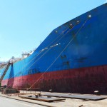 vessel in dock in shipyard