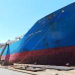 vessel in dock in shipyard