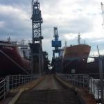 vessel berthed in shipyard