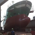 vessel berthed in shipyard
